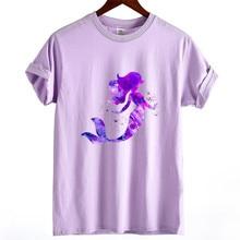 Новая летняя женская футболка Harajuku Милая футболка с принтом русалки Женская хлопковая футболка с коротким рукавом и круглым вырезом Женские топы