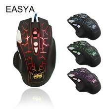 EASYA 8 Buttons Gaming Mouse Professional Wired Optical Mouse Gamer Computer Mice with LED Colorful Breathing Design for LOL Use