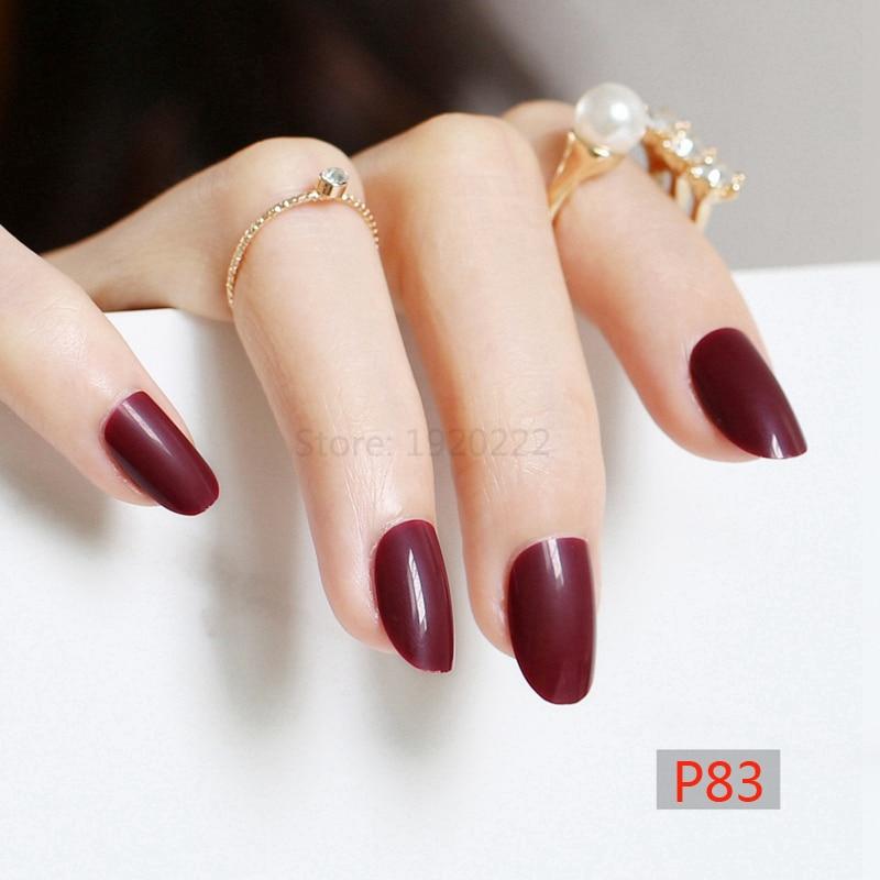 2019 24 pièces chaud nouveau délicat ovale bonbons mignon faux ongles couleur profonde Claret P83X