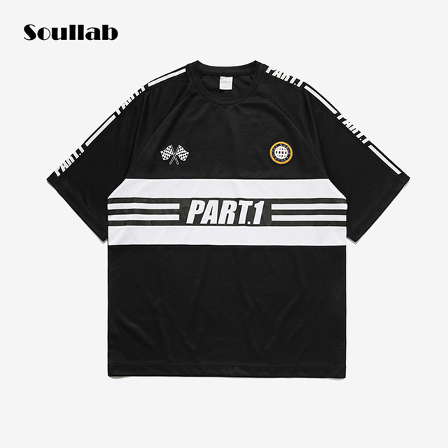 Old School Style White Black Stripe Men Top Tee Oversize T Shirt