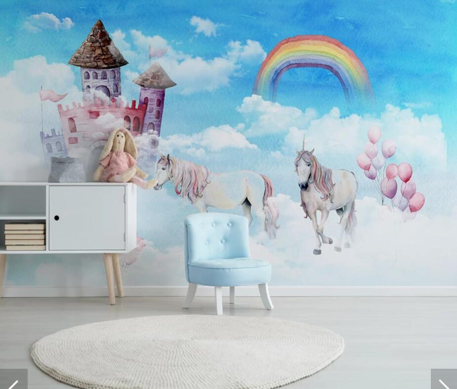Us 9 17 49 Off Nordic 3d Unicorn Kids Room Wallpaper Mural Art Wall Decals Mural Paper Rolls Contact Paper Roll 3d Wall Murals In Wallpapers From