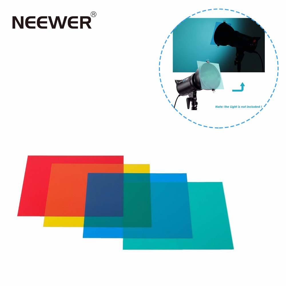 "Neewer 12 ""x 12"" / 30 x 30 cm Gel Koreksi Warna Set 4-warna Gel Filter Film Gel Lembar untuk Video Cahaya Studio Flash Strobe"