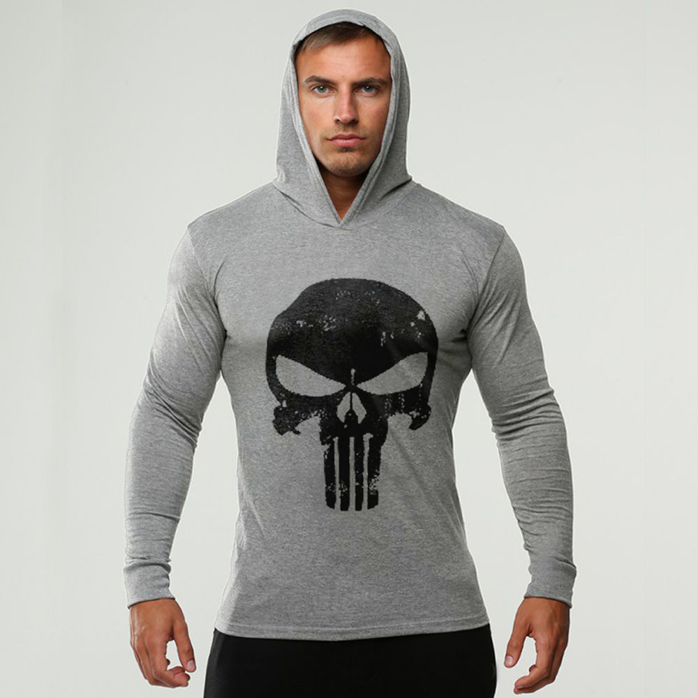 Brand Skulls Fitness mens hooded   t     shirt   streetwear punisher bodybuilding long sleeve   t     shirt   crossfit tshirt gyms tee   shirt