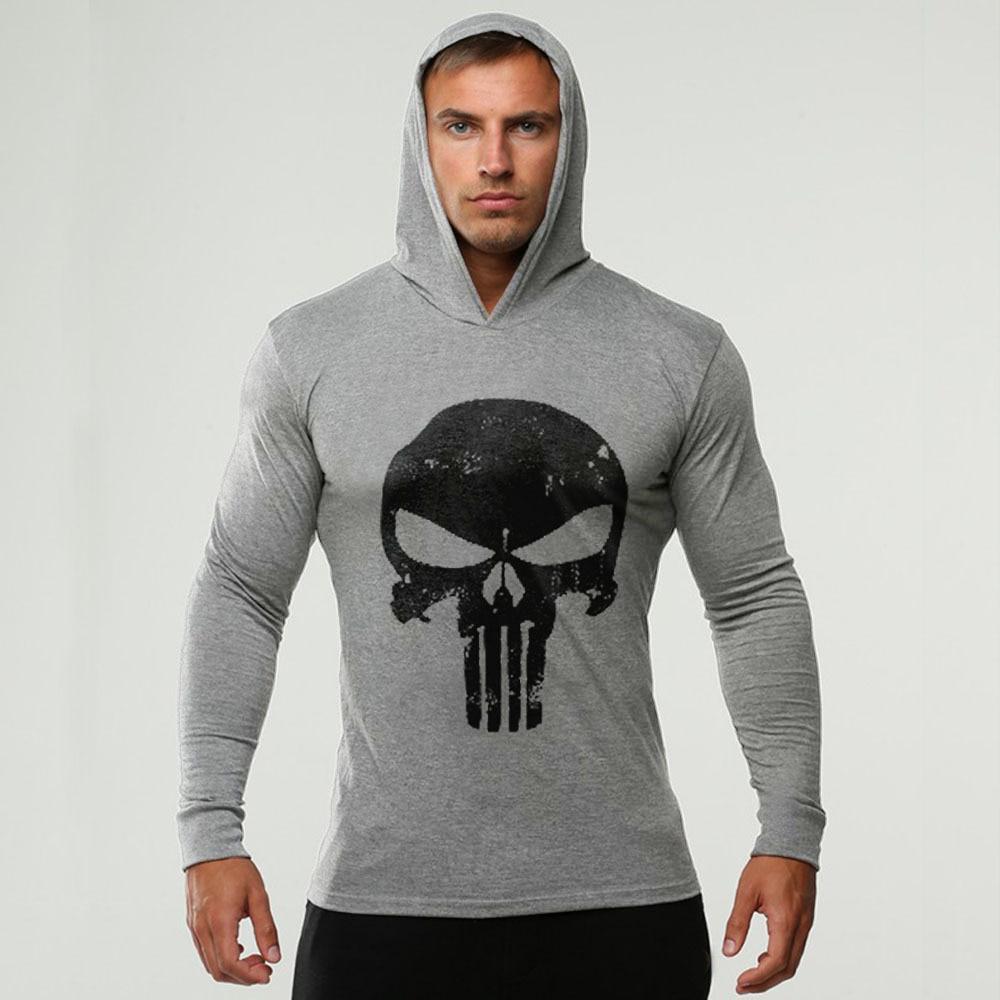 Brand Skulls Fitness mens hooded t shirt streetwear Summer bodybuilding long sleeve t shirt crossfit tshirt gyms tee shirt