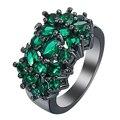 Nueva Flor negro Anillos para las mujeres regalo de la joyería de moda elegante de la princesa Verde circón Anillo de Compromiso de Piedra checa Precio de fábrica