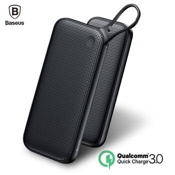 Baseus Quick Charge 3.0 Banco Do Poder 20000 mAh Powerbank 3 Saídas Dual QC3.0 Poverbank Carregador de Bateria Externa Para Telefones Móveis