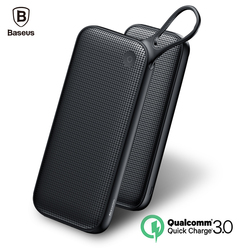Baseus carga rápida 3,0 Banco de la energía 20000 mAh 3 salidas externa Dual QC3.0 cargador de batería externa para teléfonos móviles Poverbank