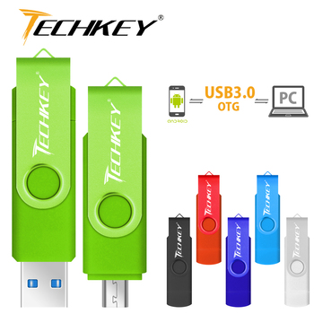 new TECHKEY OTG usb 3.0 64gb usb flash drive 3.0 32gbpen drive 8gb 16gb memoria cel usb stick pendrive u disk gift for mobile USB-флеш-накопитель