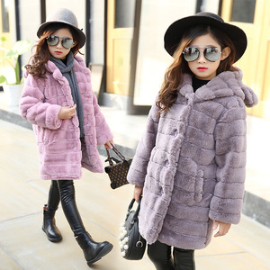 Image 3 - Inverno da menina imitação casaco de pele 2020 meninas grosso fluff casaco quente crianças roupas do bebê criança grosso mais veludo casaco atacado