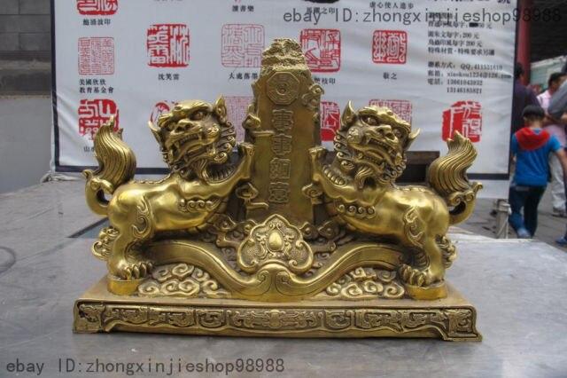 China Pure Brass Copper Good luck Feng Shui Auspicious Fu Foo Dog Lion Statue Garden Decoration 100% real Brass Bronze