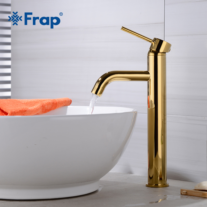 Frap Luxury Golden Finished Brass Faucet Bathroom Faucets Single Handle Cold and Hot Water Tap Mixer High Basin Faucet Y10162 2sb1204 b1204 to251 252