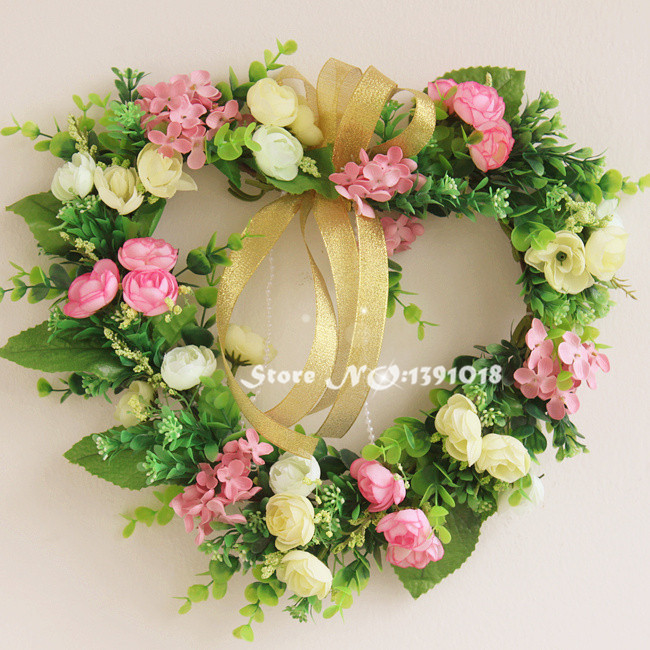 Pink heart shape silk rose garland door decoration wedding for Artificial flowers for wedding decoration