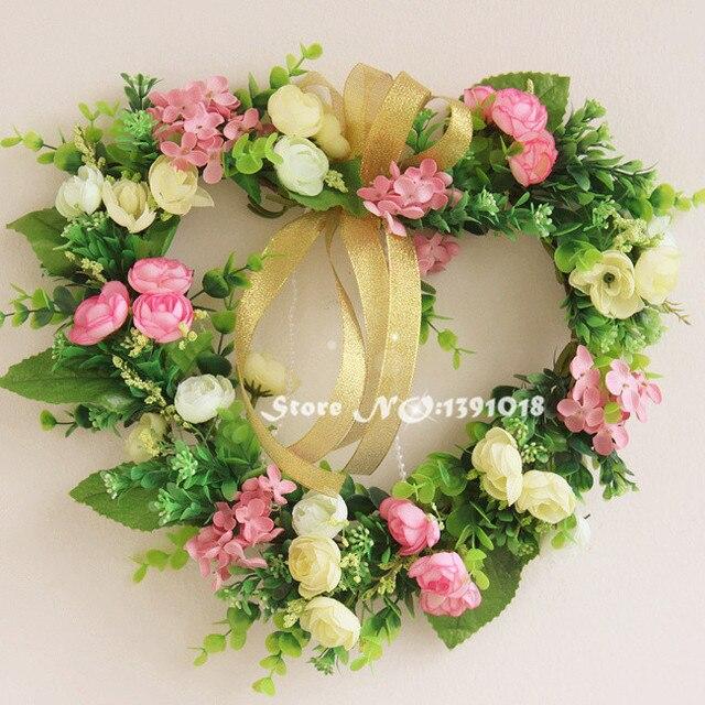 Pink Heart Shape Silk Rose Garland Door Decoration Wedding Flower Home Decor Wedding Car Decoration Flower