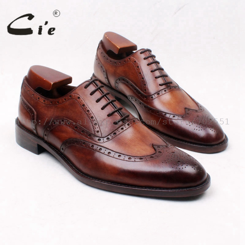 cie Round Toe Full Brogues Lace-Up Oxfords Patina Brown 100%Genuine Calf Leather bottom Outsole Men's Leather Dress Shoe OX662 cie square toe semi brogues lace up oxfords patina purple 100