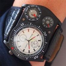 Chaude Marque De Luxe Oulm Montres Hommes En Cuir Horloge Homme Avenir Vintage Montre Vente Hommes Cadeaux de Montre-Bracelet montre homme reloj 4094