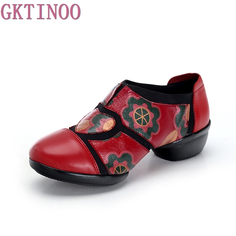 2017 Ethnic Style Handmade Women Shoes Pumps Genuine Leather Square Heels Round Toe Low Heels