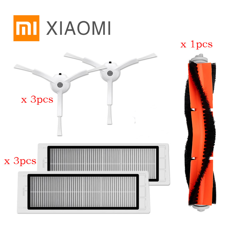 7pcs/lot 3PCS hepa filter+3PCS side brush+1PCS main brush Suitable for Xiaomi Mi Robot Vacuum Cleaner parts accessories 1pcs main brush suitable for xiaomi mi robot vacuum cleaner parts accessories