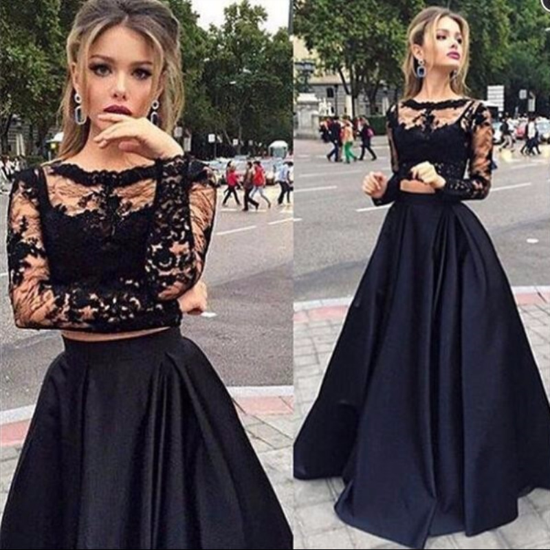 2019 Black Two Pieces   Prom     Dresses   Long Sleeveless Scoop A Line Lace Evening   Dress   Robe De Soiree Party   Dresses   Evening Gowns