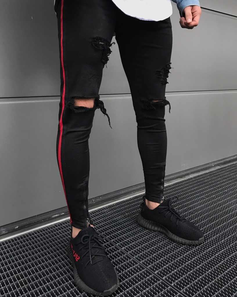 Streetwear Skinny Stretch Denim Mens Zipper Jeans Pants Green Black Ripped Jeans for Men Side Stripe Jeans Slim Fit