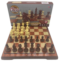 Magnetic Wood International Chess Checkers Pieces 32 Pcs Set Folding Table Games Board 36x31cm King 7