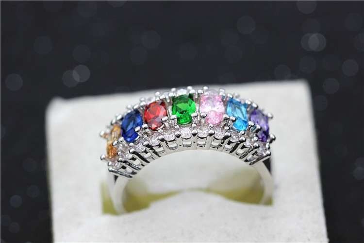 Uloveido Valentine's Day Gift Womens Silver Plated Red Wedding Large Colored Ring Red Green Zircon Sets Ringen Jewelry 2016 J501 25