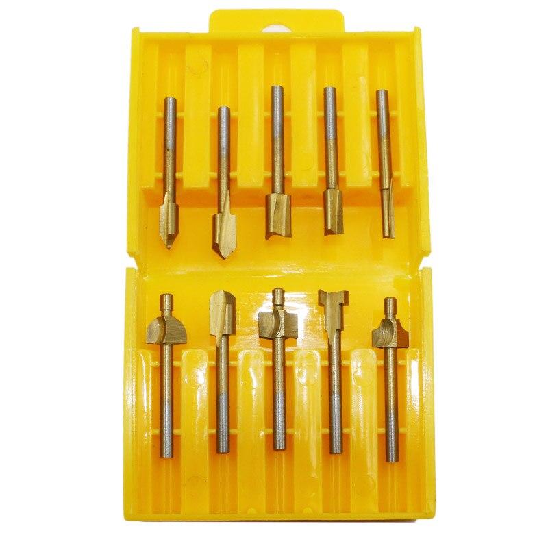 "10 Pcs 1/8"" Handle HSS Wood Router Drill Bit Titanium Coated Mini 3mm Wood Cutter Dremel Rotary Tool Set Milling Cutter Drill"