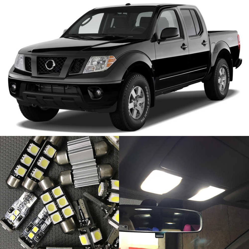 10pcs White LED Light Bulbs Interior Package Kit For 2005-2009 Nissan Frontier Map Dome Trunk License Plate light Lamp