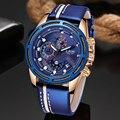 LIGE повседневные спортивные часы для мужчин синий топ бренд Роскошные военные кожаные Наручные часы мужские часы модные наручные часы с хро...