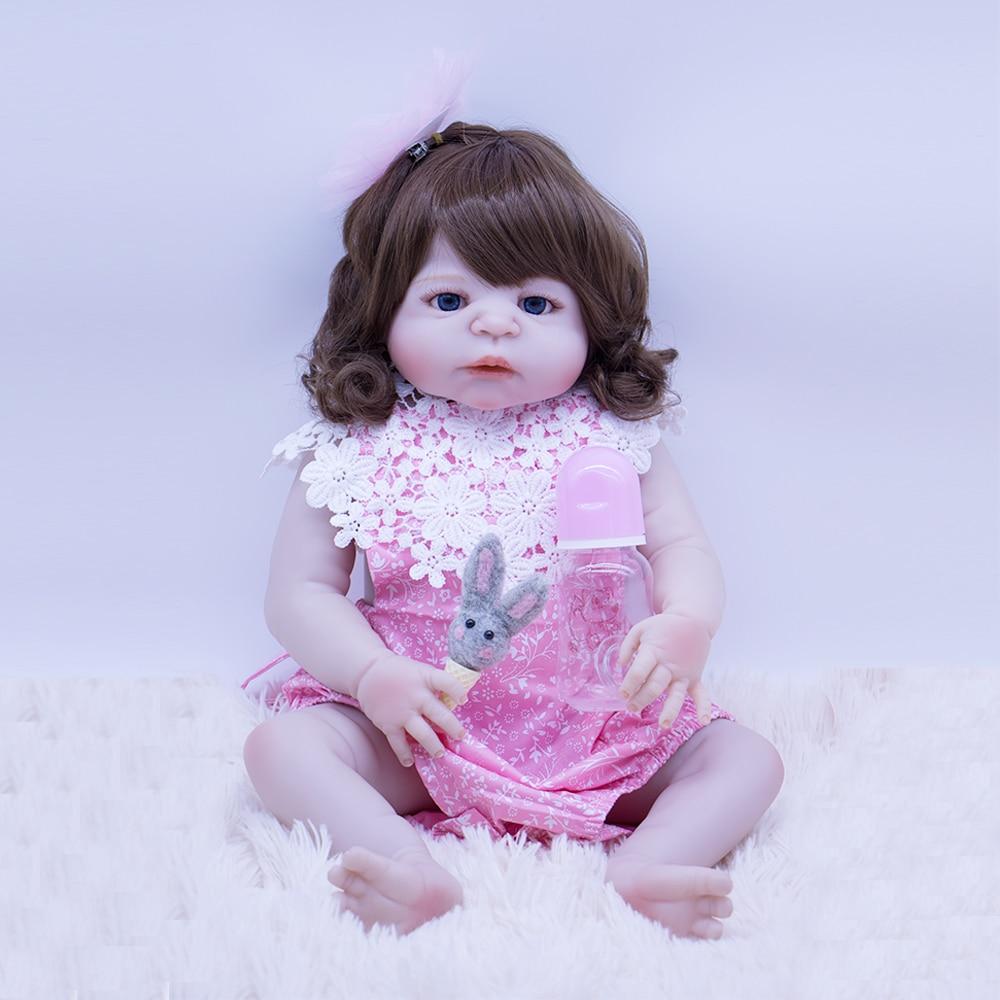 22inch Silicone Reborn Girl Dolls Baby Npk Doll Reborn Vinyl Boneca 55cm Beautiful Bebe Reborn Doll Gift For Girls Bath Toy