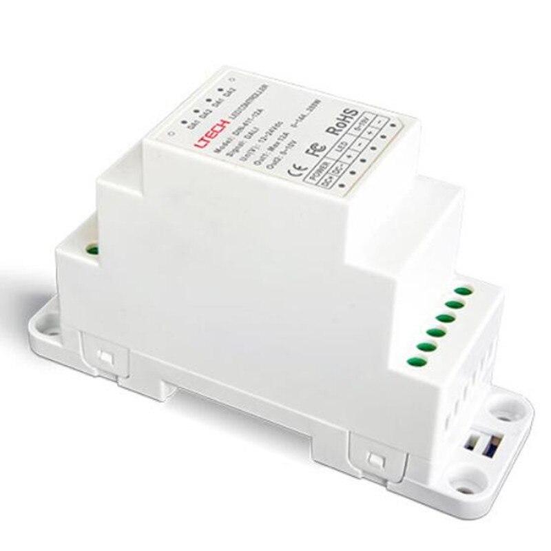 DIN-411-12A DALI à PWM CV DIN rail LED pilote de gradation DALI Signal de gradation entrée de DC12-24V 12A * 1CH + 0-10 V * 1CH sortie LTECH