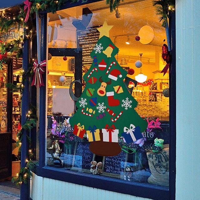 Hot Felt Christmas Xmas Tree Diy Magic Tape Reindeer Snowman Kids