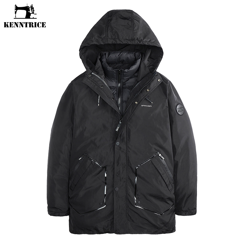KENNTRICE Long Warm Winter Jacket Black Thick Parkas Men Waterproof Breathable Casual Two Pieces Mens Clothes