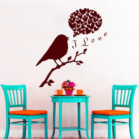 Cute Bird On The Tree Branch With I Love Quote Wall Decals And Heart Wall Decals