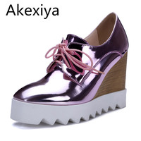 Bling Patent Leather Oxfords 2016 Wedges Gold Silver Platform Shoes Woman Casual Creepers Pink High Heels