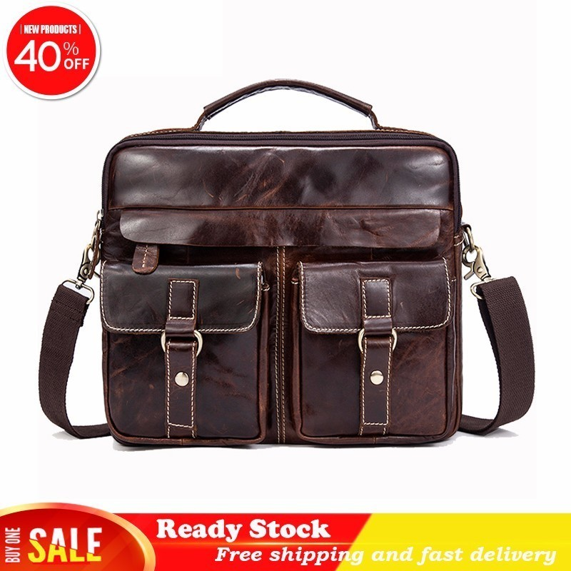 Luxury Brand Male Messenger Bag Men's Genuine Leather Briefcase Man Work Business Casual Travel For Documents Best Free Shipping