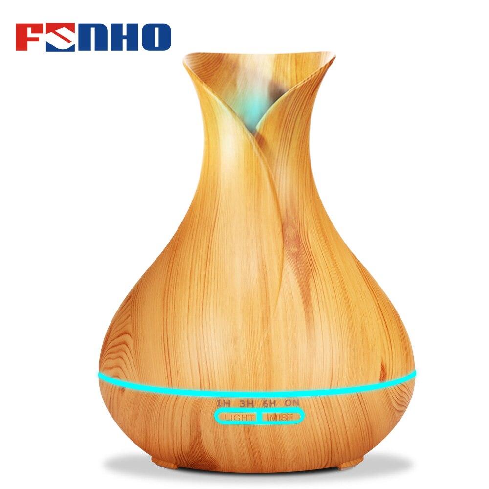 FUNHO 400 ml di Legno Del Grano di Aria Umidificatore Diffusore di Aroma Olio Essenziale Diffusore Humidificador 7 LED Cambiamento Della Luce di Notte per la Casa 217