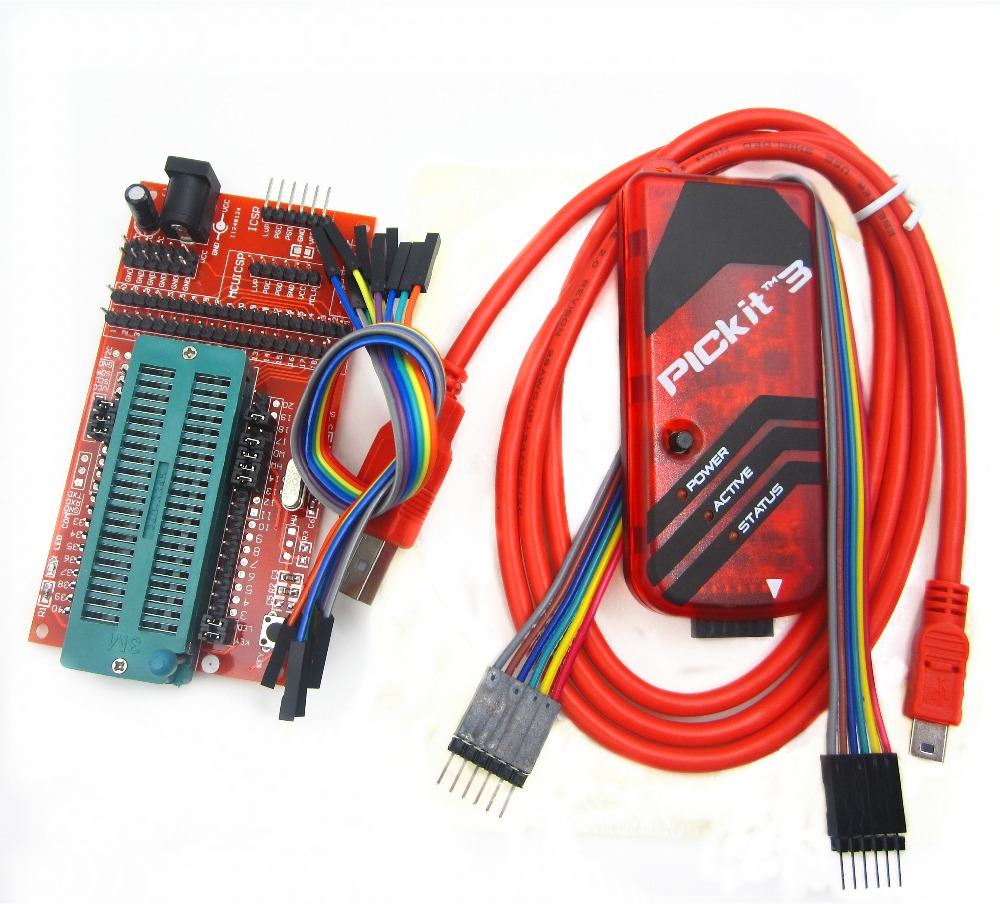 pickit3 Programming / emulator + PIC microcontroller / minimum system board / development board / universal programmer seat pic microcontroller development board the experimental board pic18f4520 including pickit2 programmers excluding books