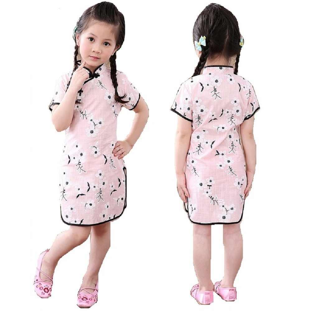 花の赤ちゃんガールドレス夏梅子供袍中国新年の女の子のチャイナ服衣装花カイパオドレストップ