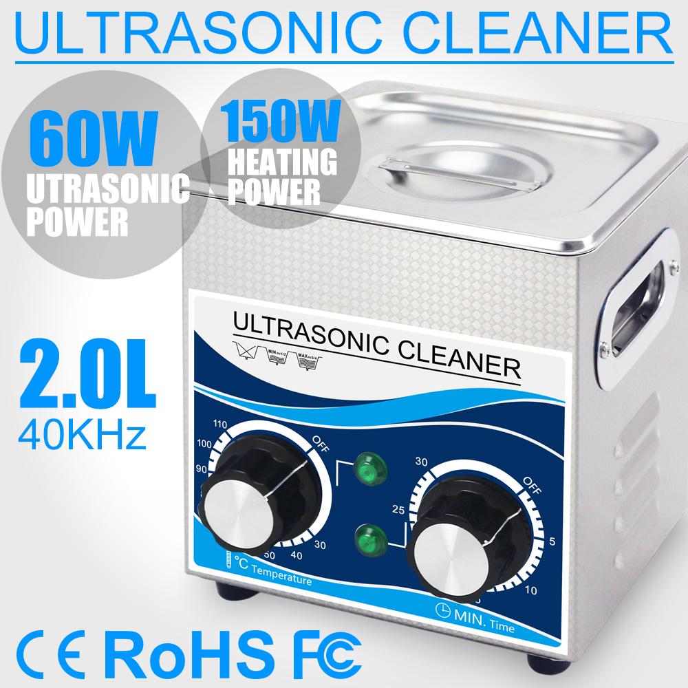 Household 2L 60W Ultrasound Cleaner Timer Heater Stainless Steel Ultrasonic Washer Bath Dental Tools Watches Glasses