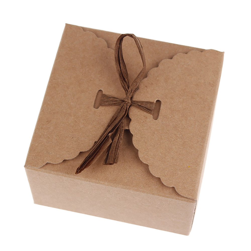 12pcs/set Retro Mini Kraft Paper Box DIY Wedding Gift Favor Boxes Party Candy Box Small Single Cake Packaging with Ribbon
