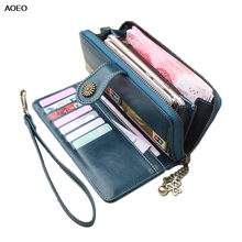 все цены на AOEO Women Purses Hasp And Clutch 2019 Long Style Design With Card Holder Phone Money Bag Slim Wallets Female Ladies Wallet Girl онлайн