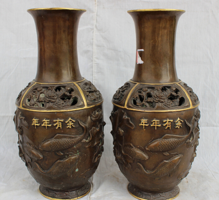 fast shipping USPS to USA S1847 14 Chinese Bronze 24K Gold Palace Wealth Fish Crane Statue Boat Pot Vase Pairfast shipping USPS to USA S1847 14 Chinese Bronze 24K Gold Palace Wealth Fish Crane Statue Boat Pot Vase Pair