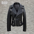 Black genuine leather jackets women sheepskin motorcycle jacket veste cuir veritable pour femme chaquetas de cuero mujer LT027