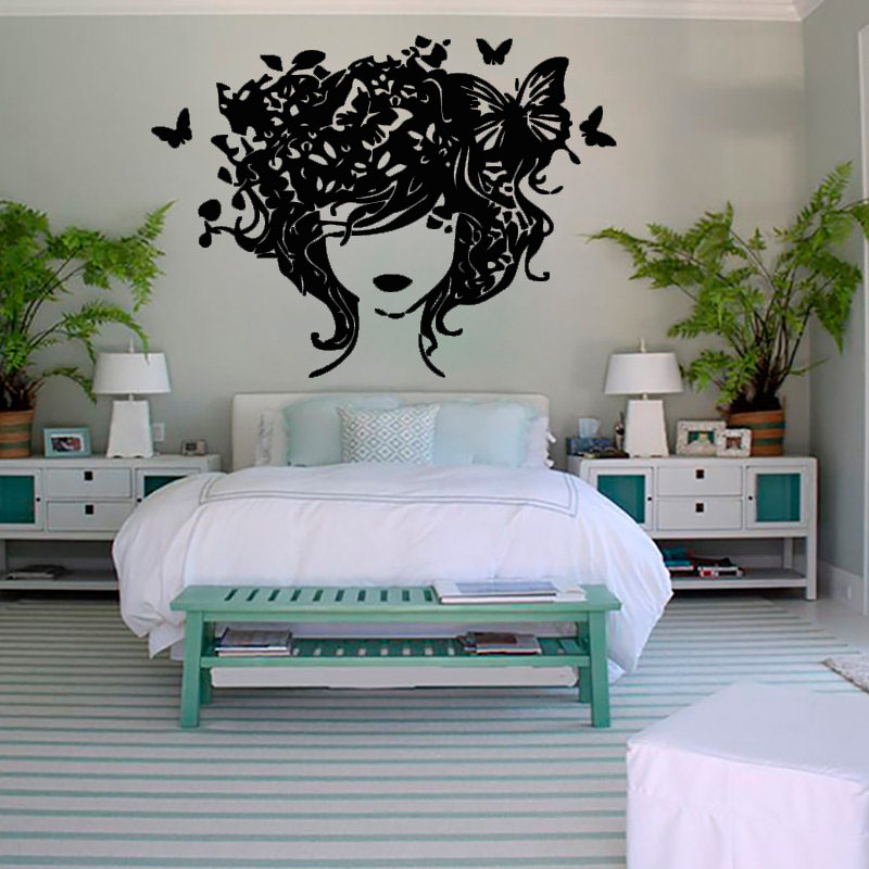 Fashion Creative Home Decor Butterflies Hair Lady Wall Sticker Bedroom Headboard Wall Decoration Wallpaper