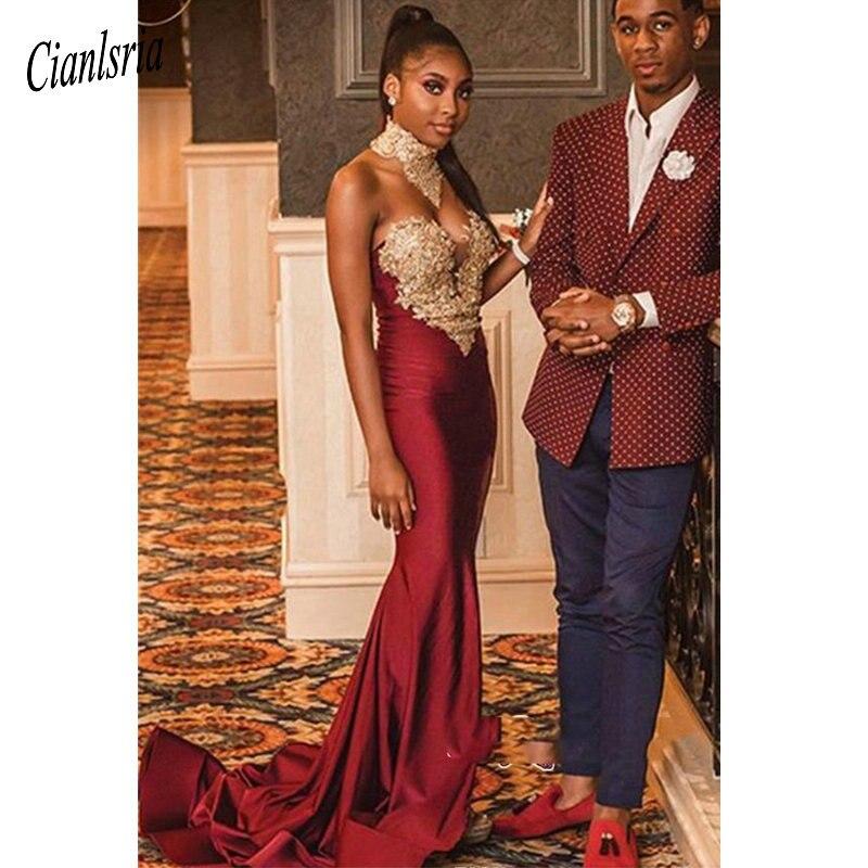 Sexy burgundy Mermaid   Prom     Dresses   2019 Backless Halter Vintage Lace Plus Size Black Girls African Arabic Formal   Dress