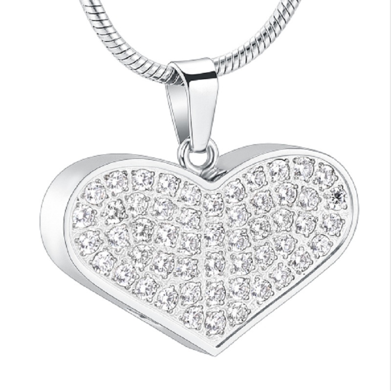 IJD001 Crystal Heart Memorial Jewelry Urn Necklace for