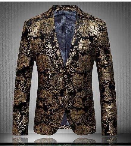 New Arrival Gold Suits Mens Luxury Print Blazer Casual Floral Jaqueta De  Luxo Blazer Jackets For Men-in Suit Jackets from Men s Clothing    Accessories 9634336389e2