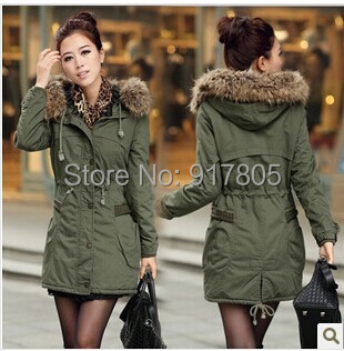 2014 Winter Women Jacket Coat Large Fur Collar Army Green Wadded Thickening Cotton-padded Female Medium-long Warm Parka - Sherry Fu's store