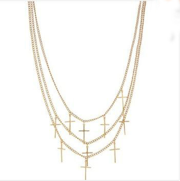 Fashion New Multi Layer Chain plated gold Cross Statement Choker Necklaces YX3122 ABC