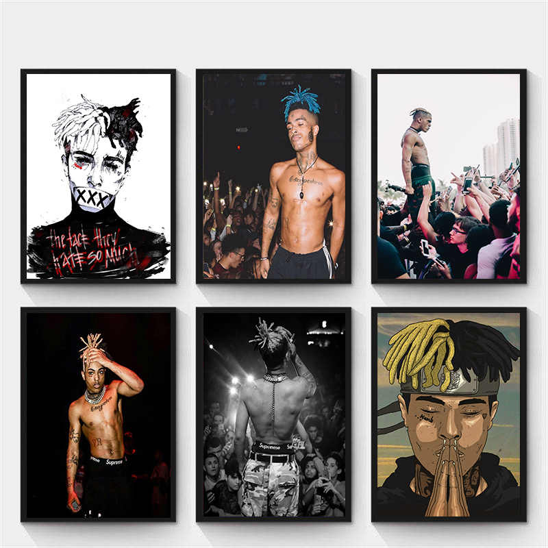 XXXTentacion الراب الهيب هوب الموسيقى ستار المغني ملصق فني الأبيض المغلفة ورقة طباعة اللوحة للمنزل ديكور الجدار ملصق فني